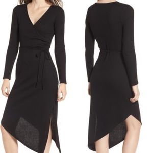 One Clothing Ribbed Midi Faux Wrap Dress